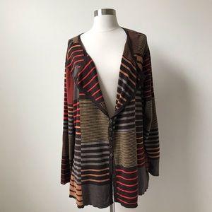Nic + Zoe Drape Neck Multicolored Striped Cardigan